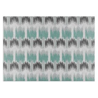 Gray Mint Aqua Modern Abstract Floral Ikat Pattern Cutting Board