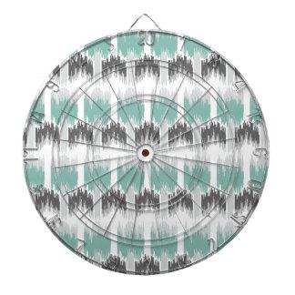 Gray Mint Aqua Modern Abstract Floral Ikat Pattern Dartboard