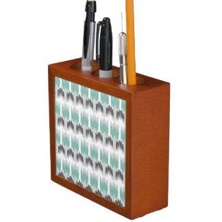 Gray Mint Aqua Modern Abstract Floral Ikat Pattern Desk Organizer