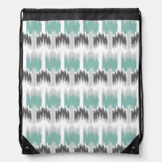 Gray Mint Aqua Modern Abstract Floral Ikat Pattern Drawstring Bag