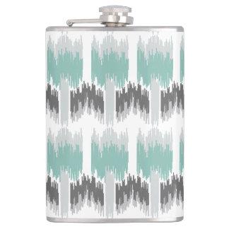 Gray Mint Aqua Modern Abstract Floral Ikat Pattern Flask