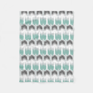 Gray Mint Aqua Modern Abstract Floral Ikat Pattern Fleece Blanket