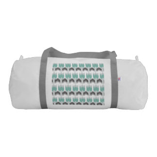 Gray Mint Aqua Modern Abstract Floral Ikat Pattern Gym Bag