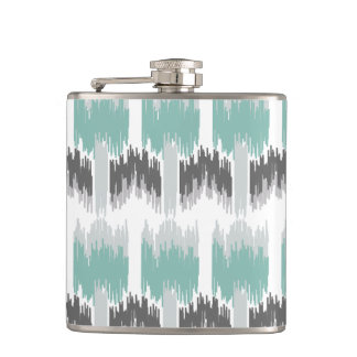 Gray Mint Aqua Modern Abstract Floral Ikat Pattern Hip Flask