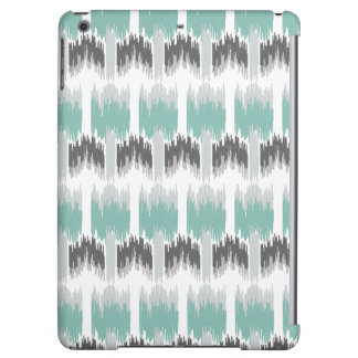 Gray Mint Aqua Modern Abstract Floral Ikat Pattern iPad Air Covers