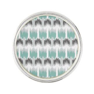 Gray Mint Aqua Modern Abstract Floral Ikat Pattern Lapel Pin