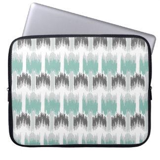 Gray Mint Aqua Modern Abstract Floral Ikat Pattern Laptop Computer Sleeves
