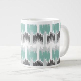 Gray Mint Aqua Modern Abstract Floral Ikat Pattern Large Coffee Mug