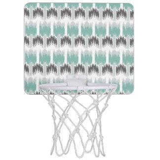 Gray Mint Aqua Modern Abstract Floral Ikat Pattern Mini Basketball Hoop