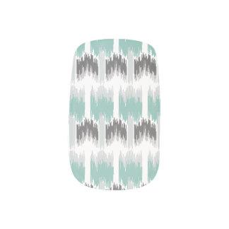 Gray Mint Aqua Modern Abstract Floral Ikat Pattern Minx Nail Art