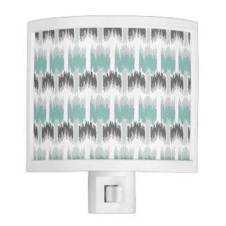 Gray Mint Aqua Modern Abstract Floral Ikat Pattern Nite Lights