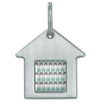 Gray Mint Aqua Modern Abstract Floral Ikat Pattern Pet ID Tag
