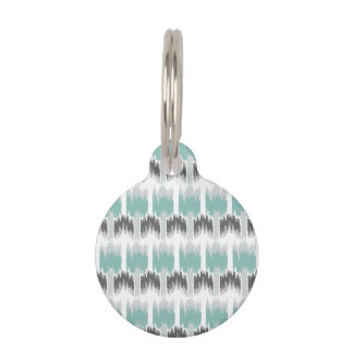 Gray Mint Aqua Modern Abstract Floral Ikat Pattern Pet Name Tag