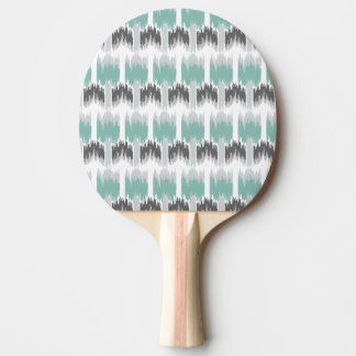 Gray Mint Aqua Modern Abstract Floral Ikat Pattern Ping Pong Paddle