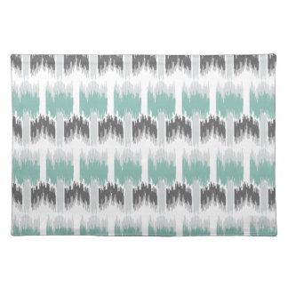 Gray Mint Aqua Modern Abstract Floral Ikat Pattern Placemat