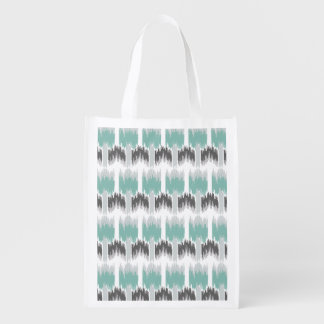 Gray Mint Aqua Modern Abstract Floral Ikat Pattern Reusable Grocery Bag