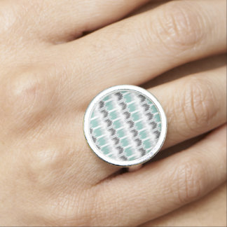 Gray Mint Aqua Modern Abstract Floral Ikat Pattern Rings