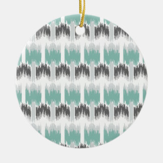 Gray Mint Aqua Modern Abstract Floral Ikat Pattern Round Ceramic Ornament