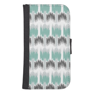 Gray Mint Aqua Modern Abstract Floral Ikat Pattern Samsung S4 Wallet Case