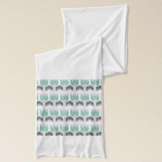 Gray Mint Aqua Modern Abstract Floral Ikat Pattern Scarf