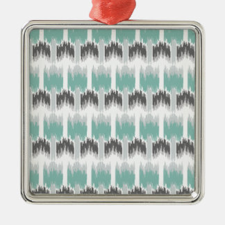 Gray Mint Aqua Modern Abstract Floral Ikat Pattern Silver-Colored Square Ornament