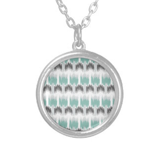 Gray Mint Aqua Modern Abstract Floral Ikat Pattern Silver Plated Necklace