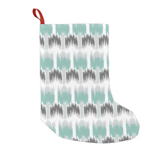 Gray Mint Aqua Modern Abstract Floral Ikat Pattern Small Christmas Stocking