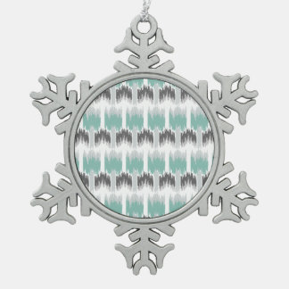 Gray Mint Aqua Modern Abstract Floral Ikat Pattern Snowflake Pewter Christmas Ornament