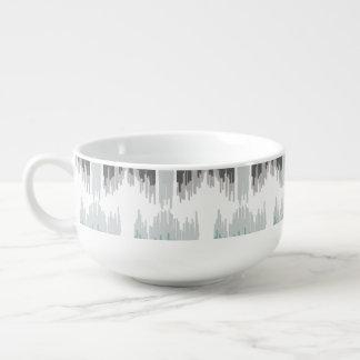 Gray Mint Aqua Modern Abstract Floral Ikat Pattern Soup Mug