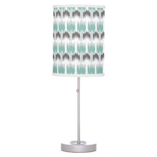 Gray Mint Aqua Modern Abstract Floral Ikat Pattern Table Lamp