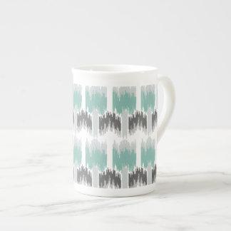 Gray Mint Aqua Modern Abstract Floral Ikat Pattern Tea Cup