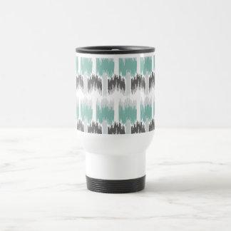 Gray Mint Aqua Modern Abstract Floral Ikat Pattern Travel Mug