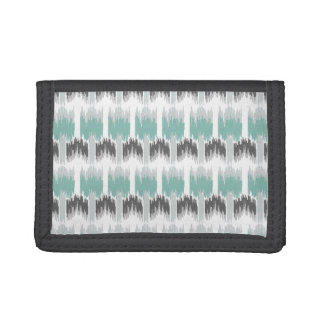 Gray Mint Aqua Modern Abstract Floral Ikat Pattern Trifold Wallets