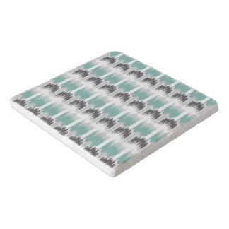 Gray Mint Aqua Modern Abstract Floral Ikat Pattern Trivet