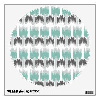 Gray Mint Aqua Modern Abstract Floral Ikat Pattern Wall Sticker