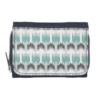 Gray Mint Aqua Modern Abstract Floral Ikat Pattern Wallet