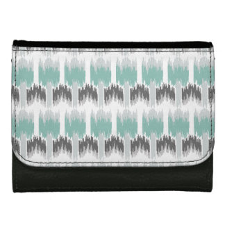 Gray Mint Aqua Modern Abstract Floral Ikat Pattern Wallets