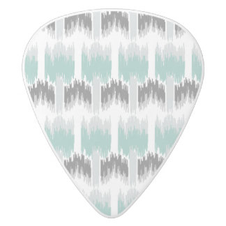 Gray Mint Aqua Modern Abstract Floral Ikat Pattern White Delrin Guitar Pick