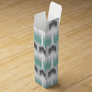 Gray Mint Aqua Modern Abstract Floral Ikat Pattern Wine Gift Boxes