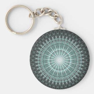 Gray Mint  Chevron Mandala Keychain