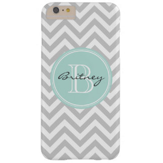 Gray Mint Chevron Pattern Custom Monogram Barely There iPhone 6 Plus Case