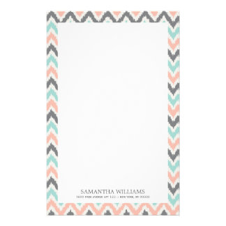 Gray Mint Coral Zigzag Ikat Pattern Stationery