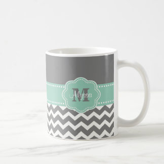 Gray Mint Green Chevron Personalized Mug