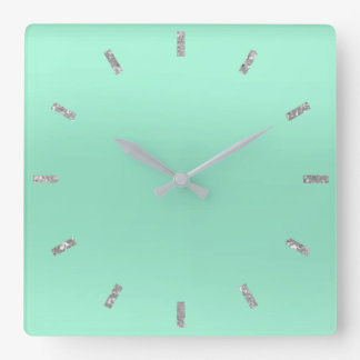 Gray Mint Green Pastel Ombre Minimal Glitter Square Wall Clock