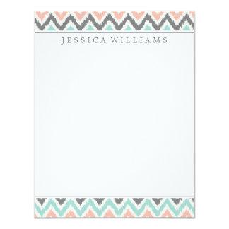 Gray Mint Peach Zigzag Ikat Pattern Card
