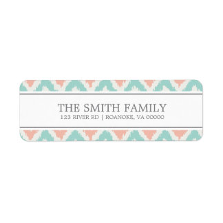 Gray Mint Peach Zigzag Tribal Pattern