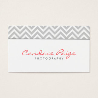 Gray Modern Chevron Stripes Business Card