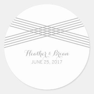 Gray Modern Deco Wedding Stickers Round Sticker