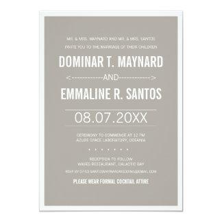 Gray Modern Minimalist Wedding Invitation