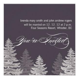 Gray Modern Winter Wedding Invitations Trees